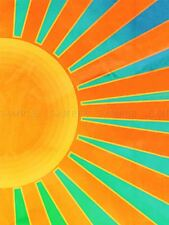 PAINTING ABSTRACT SUNRISE SUN RAYS ORANGE BLUE SPOKES POSTER PRINT BMP10469