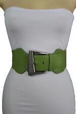 Women Fashion Wide Belt Green Stretch Waistband Big Silver Metal Buckle S M L