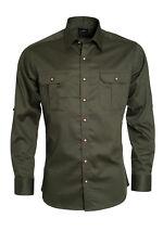 Trachtenhemd Freizeithemd Jagdhemd Olive Krempelärmel Shirt Langarm Hemd Gr.L