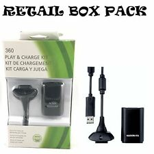 NEW BLACK PLAY AND CHARGE KIT + RECHARGEABLE BATTERY FOR XBOX 360 UK SELLER