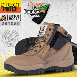 Mongrel Boots 261060 Steel Toe Work Safety Zip Sider Stone Press Stud Clip NEW