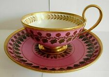 19TH C SEVRES PORCELAIN PINK GROUND FLORAL PAINTED BREAKFAST CUP AND SAUCER