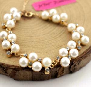 Betsey Johnson Fashion Enamel Jewelry Rhinestone pearl Rhinestone bracelet gift