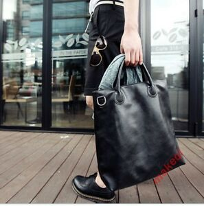 Mens Large Fashion Leather Shopping Totes Messenger Laptop Big School Bag