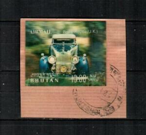 BHUTAN Scott's 128S ( 1v - Lenticular ) Rolls Royce F/VF Used on Piece ( 1971 )