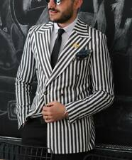 Black&White Striped Men's Suit Coat Blazer Wedding Prom Party Slim Fit Custom