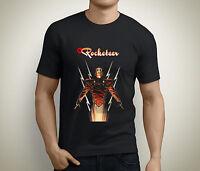 New THE ROCKETEER Comic Art Short Sleeve Men's Black T-Shirt Size S to 5XL