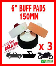 "3pcs BUFF PADS 6"" 150MM CUT AND POLISH PAD FOAM DETAIL AUTO POLISHING"