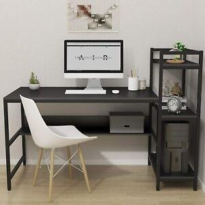 "54"" Large Computer Desk Corner PC Laptop Gaming Table Home Office w/ 4 Shelves"