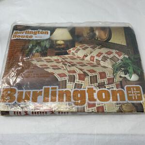 Vintage Burlington House Twin Size Flat Sheet Khaki Terracotta MCM Design Sealed