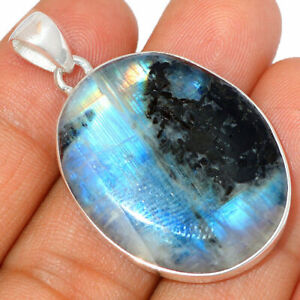 Moonstone Pendant Quartz Necklace 925 SS Healing Crystal Boho Jewelry P639