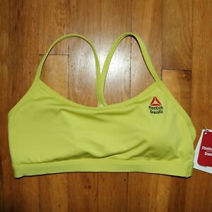 Reebok CrossFit RC Skinny Sports Bra Womens M GM4188 Yellow Green Speedwick New