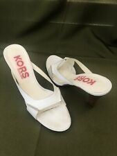 Michael KORS White Leather Platform Slides Heels Sandals Shoes SIZE: 7.5 - ITALY