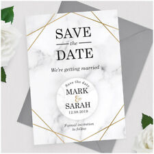 Gold Marble PERSONALISED Geometric Wedding Save The Date Cards Fridge Magnets