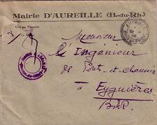 BOUCHES DU RHONE - AUREILLE T84 LE 12-8-1946 SUR ENVELOPPE ENTETE MAIRIE .