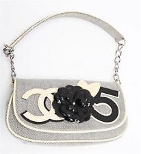 CHANEL Womens Ivory+Black Canvas Flower CC Logo Shoulder Flap Bag Handbag Purse