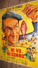 louis de funes NI VU NI CONNU ! modele rare affiche cinema 1957 peche