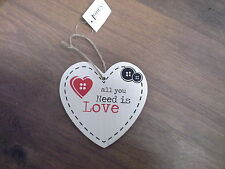 All you need is love  Wooden Heart Plaque