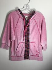Roxy Hoodie Zip Front 3/4 Sleeves Pink Women's Size Small