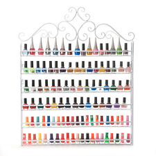 6 TIER White Nail Polish Display Wall Rack Metal Organizer Fit Up To 120 Bottles