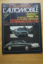 MONITEUR AUTO 677 PEUGEOT 504 505 GR MAZDA 323 SP MERCEDES CLASSE S  1979