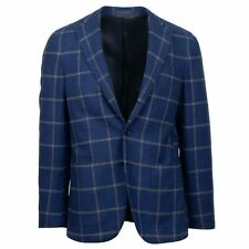 NWT CARUSO Blue Check Wool 3 Roll 2 Button Sport Coat 46/36 R Drop 8