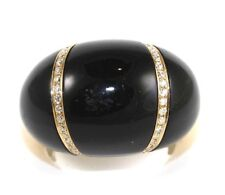 Wide Onyx & Diamond Dome Shape Ring Band 18k Rose Gold 55.55Ct