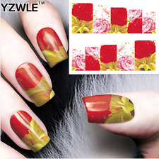 Nail Art Stickers Transfers Decals Red Pink White Flowers (A-74)