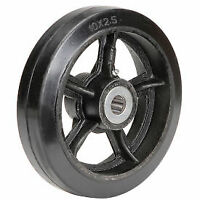 """Global Industrial 10"""" x 2-1/2"""" Mold-On Rubber Wheel - Axle Size 1"""" CW-1025-MORRB"""