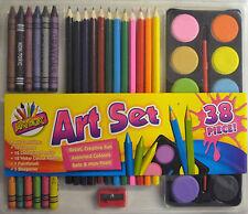 Artbox 38 Piece Art Set (12 Crayons, 12 Coloured Pencils, 12 Paints, Brush)