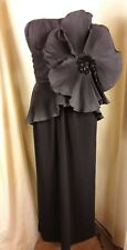 Frank Usher Black Evening Dinner Dress 40s Hollywood Bette Davis UK8 EU36