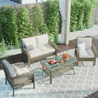 4pc Rattan Sofa Chair Table Set With Cushions Outdoor Patio Garden Furniture Set