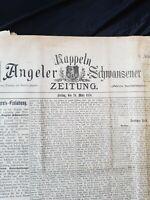Kappeln Angeln Zeitung 1876 Original Rarität Schleswig Holstein 1. Jhgg.