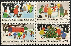 1982 Scott #2027-2030 - 20¢ - CHRISTMAS WINTER SCENES - Block of Four - Mint NH