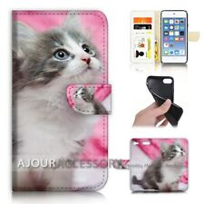 ( For iPod Touch 6 ) Wallet Flip Case Cover AJ21197 Cute Pussy Cat