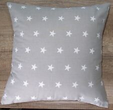 Handmade Cushion Cover - Grey and White Stars - Same Fabric Both Sides