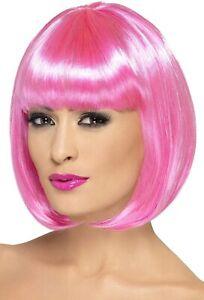 Smiffys Womens Partyrama Wig Short Bob Costume Hair Pink