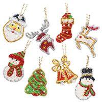 8Pcs Christmas 5D Full Drill DiamondPainting Keychain Pendant DIY Kits Key Ring