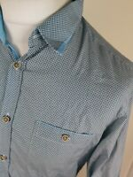 Mens Ted Baker Rohood Geometric Shirt Blue Large 4 42 Chest Vvgc