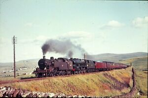 ORIGINAL SLIDE OF BR STEAM LOCOS DOUBLE HEADING AT SHAP - 1960s