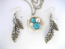 Turquoise & Silver Feather Earring & Bird Nest Necklace Set - Statement Jewelry