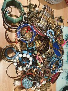 Job Lot 100+ Mixed Costume Jewellery Bundle Craft Bracelets Etc 2.3KG