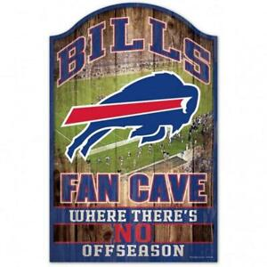 "Buffalo Bills Fan Cave Design Wood Sign - 11"" x 17"" [NEW] NFL Wall Man"