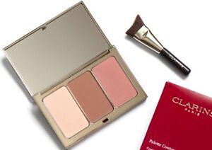 Clarins Face Contouring Palette - Blush Bronze Highlight + Contour Brush GENUINE