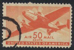 Scott C31- Used- 50c Twin Motored Transport Plane- 1941 AIRMAIL stamp