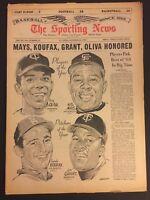1965 Sporting News SAN FRANCISCO Giants WILLIE MAYS No Label SANDY KOUFAX Oliva