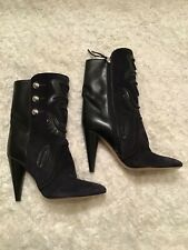 Isabel Marant Midnight Navy Suede and Black Leather Boots/Booties