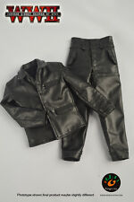 """1/6 Male Soldier WWII Black Leather Jacket & Pants Clothes F/12"""" Man Figure Body"""