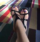 Donald J Pliner Black Patent Strappy Minimalist Terima Heels Sandals Sz 6