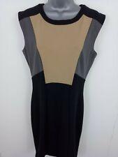 WOMENS OASIS ELEGANT A-LINE DRESS SLEEVELESS DRESS BACK ZIP UP BROWN BLACK 14